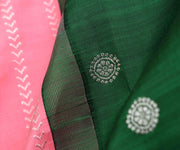 Half And Half Pastel Pink Silver Kathir Lines And Butta With Bottle Green Pallu And Blouse