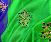 Ms Blue Kanchi Silk Saree With Green Pallu Crafted With French Knot And Zardosi Floral Embroidery - With Blouse