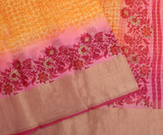Orange Kota Silk Saree with Attached Blouse