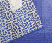 Blue Hand Block Printed Bengal Cotton Saree and Attached Blouse