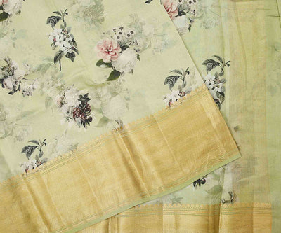 Pastel Green, Floral Digital Print Tussar Organza Saree with Zari Border