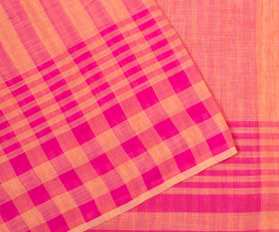 Pink And Peach Checked Linen Saree With Blouse