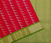 Pink Color Kanchi Silk Saree with Silver and Gold Parrot Butta and Green Color Border and Pallu