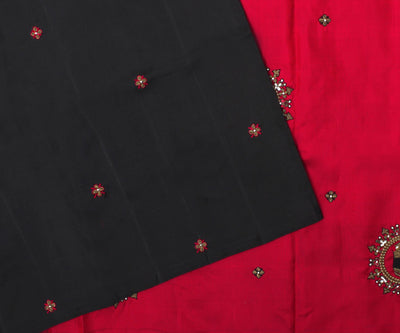 Black Kanchi Silk Saree With Red Pallu Crafted With Zardosi Elephant Embroidery-With Blouse
