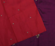 Red Kanchi Silk Saree With Small Floral Butta And Purple Pallu Crafted With Twin Bird Kundan Embroidery