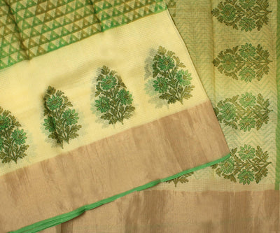 Parrot Green Kota Silk Saree With Attached Blouse