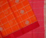 Red and Orange Organza Saree