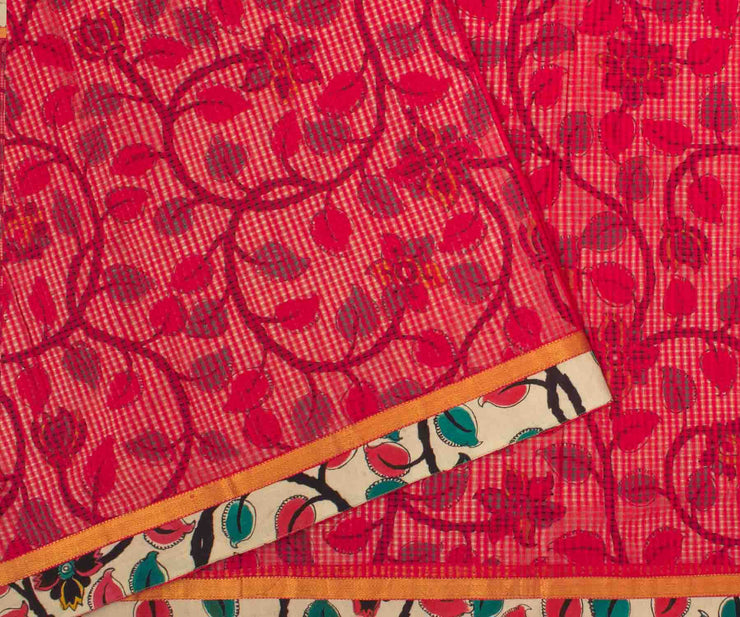 Red Kota with Kalamkari Saree and Attached Kalamkari Blouse