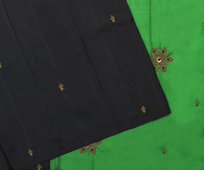 Black Kanchi Silk Saree With Emerald Green Pallu Crafted With Antique Zardosi-With Blouse