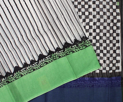 Off White Striped Cotton Saree With Green Blouse