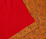 Red Color Crepe Saree with Yellow Chanderi, Border and Pallu