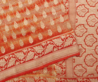 Orange Banarasi Saree with Blouse