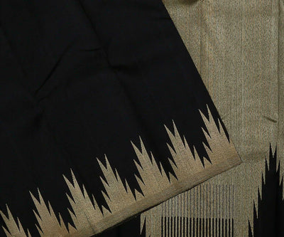 Black Kanchi Silk Saree with Temple Border and Pallu
