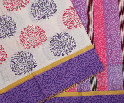 Pink and Lavender Hand Block Printed Bengal Cotton Saree
