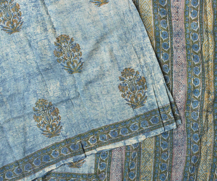 Off White Floral Printed Tussar Saree With Blue Batik Printed Blouse