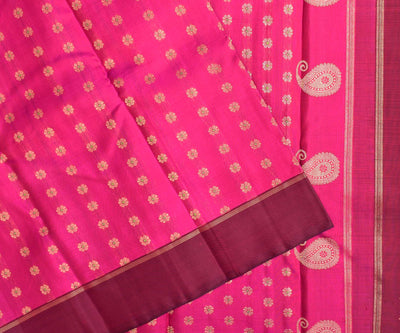 Rose Kanchi Silk Saree With With Floral Butta And Maroon Border