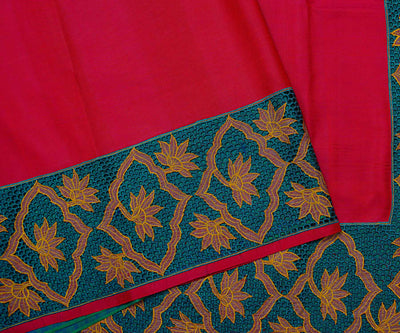 Hot Pink Kanchi Silk Saree Crafted with Honeycomb Cut Work In Border