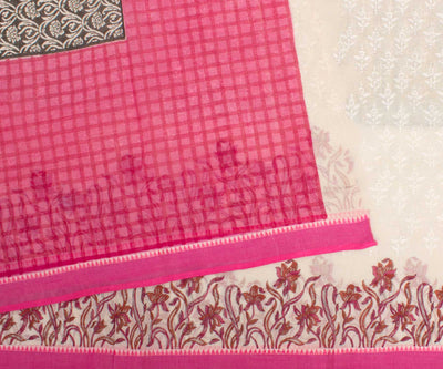 Orange And Pink Hand Block Printed Bengal Cotton Saree