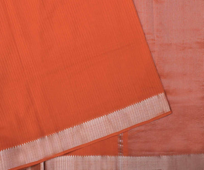 Orange Mangalgiri Cotton Saree - With Blouse