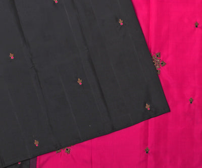 Black Kanchi Silk Saree with Hot Pink Pallu Crafted with Antique Zardosi - With Blouse