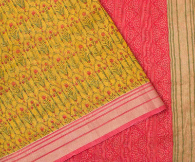 Mustard Linen Saree with Floral Print