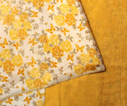 Yellow Tussar Saree With Floral Pallu - With Blouse