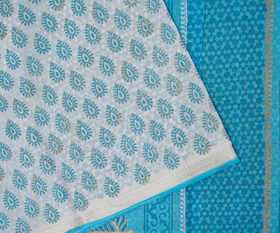Blue Hand Block Printed Bengal Cotton Saree