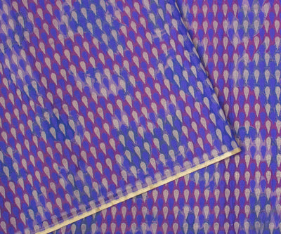 Purple Nithyakalyani Saree With Kalamkari and Jute Banarasi Work And Red Blouse