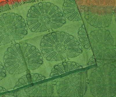 Orange and Green Manipur Cotton Saree with Block Print - With Blouse