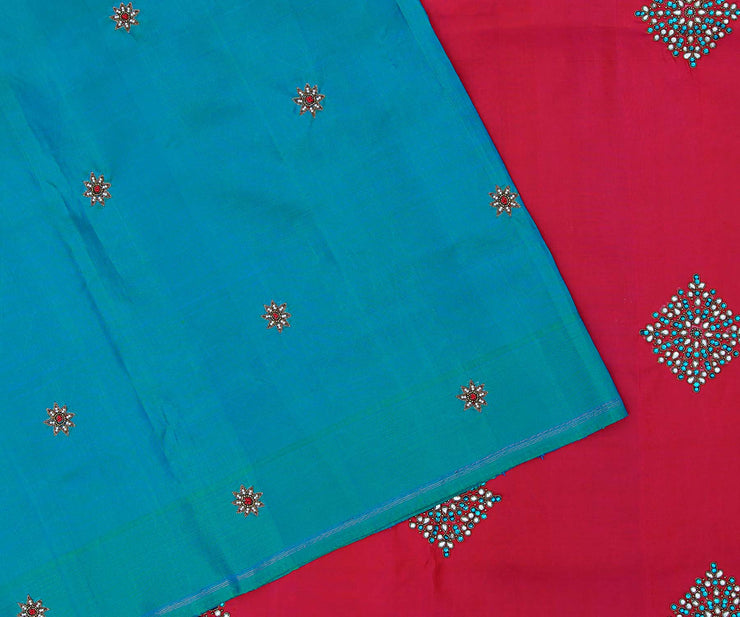 Bluish Green Kanchi Silk Saree with Small Floral Butta and Pink Pallu Crafted with Jewellery Butta Embroidery