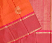 Tangerine Kanchi Silk Saree With Rose Grand Long Border