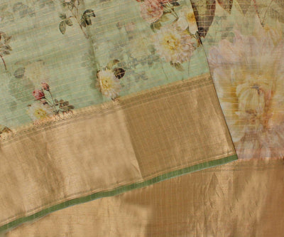 Olive Green Organza Saree With Golden Checks And Floral Print With Attached Blouse
