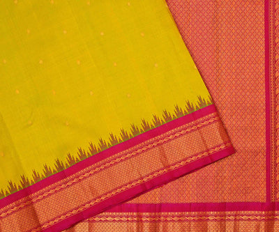 Lime Green with Rose Gadwal Silk Saree