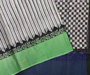 Off White Striped Cotton Saree With Emerald Green Blouse