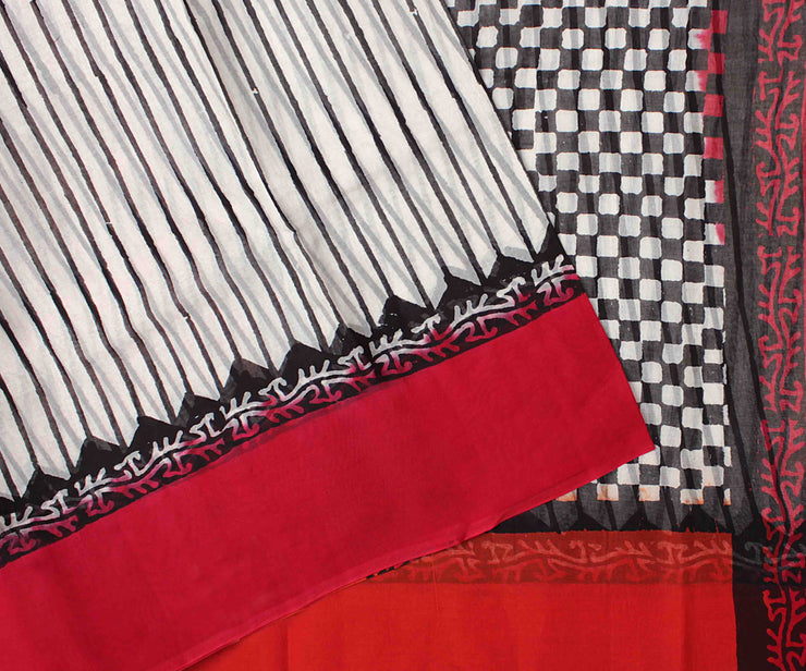 Off White Striped  Cotton Saree With Red Striped Blouse
