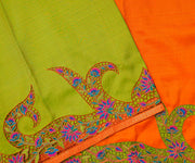 Lime Green Kanchi Silk Saree with Orange Pallu Crafted with Creepers Cut Work
