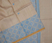 Natural Color Woven Tussar Saree With Blue Border