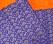 Orange and Blue Kanchi Silk with Jewellery Buttas Half and Half Saree