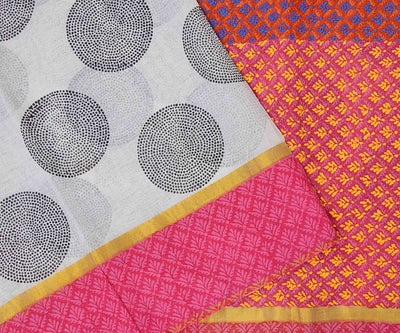Pink And Red Hand Block Printed Bengal Cotton Saree And Attached Blouse