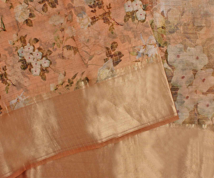 Peach Organza Saree with Golden Checks and Floral Prints with Attached Blouse