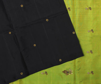 Black Kanchi Silk Saree With Lime Green Pallu Crafted With Antique Zardosi And French Knot-With Blouse