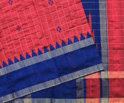 Persian Red & Royal Blue Raw Silk Saree with Checks Design - With Blouse