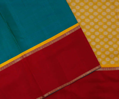 Blue Kanchi Silk with Red Border and Yellow Banarasi Pallu