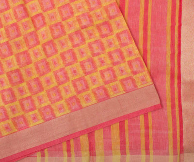 Yellow And Peach Linen Saree With And Blouse
