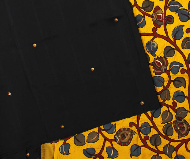 Black Kanchi Silk Saree with Yellow Pallu Crafted with Creeper Kalamkari Applique - With Blouse