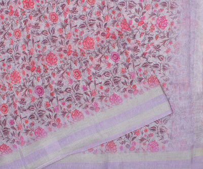 Lavender Linen Saree with Floral Print