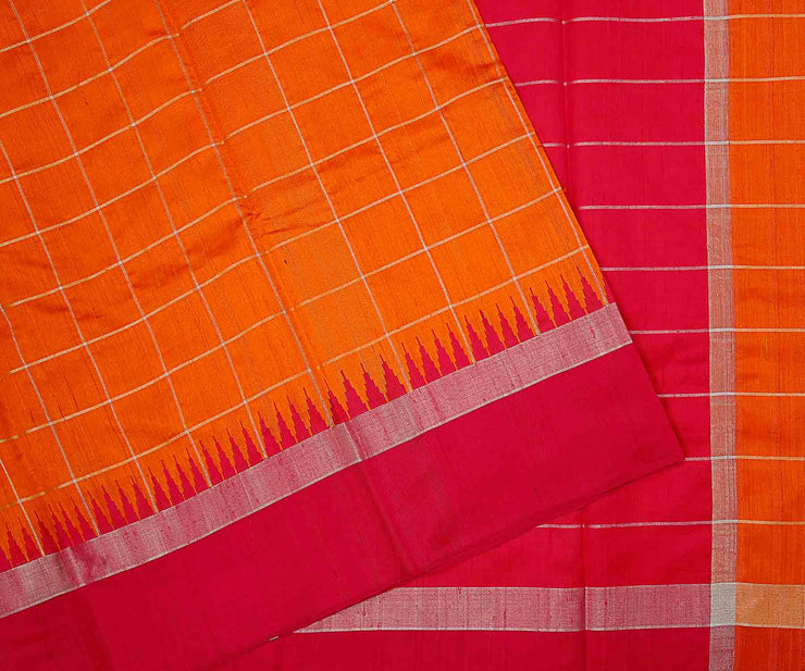 Orange And Pink Dupion Silk Saree