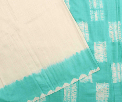 Off White Tussar Saree With Turquoise Blouse