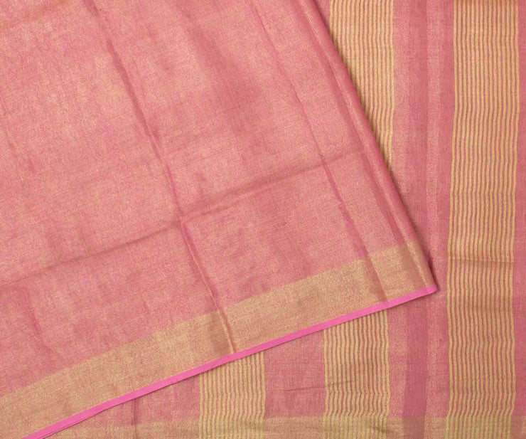 Pink Tissue Linen Saree with Gold Border and Attached Blouse