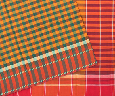 Multi Color Checked Cotton Saree